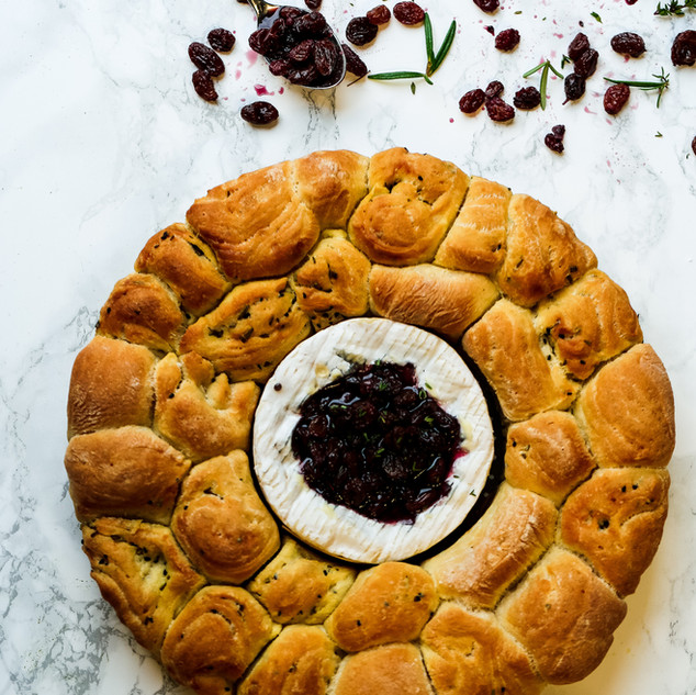 Tear and Share Brie with Red Wine Soaked Raisins