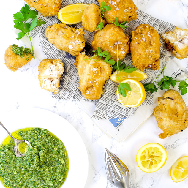 Monkfish Scampi with Salsa Verde