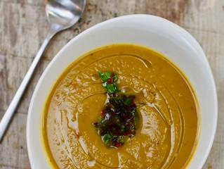 Pumpkin Soup with Pickled California Prune Salsa
