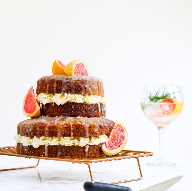 Pink Grapefruit with Gin and Tonic Drizzle