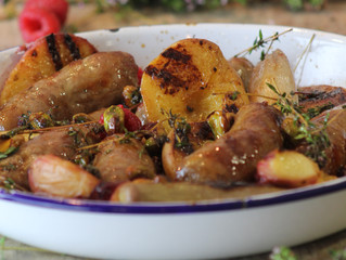 Summer Peaches with Cumberland sausage