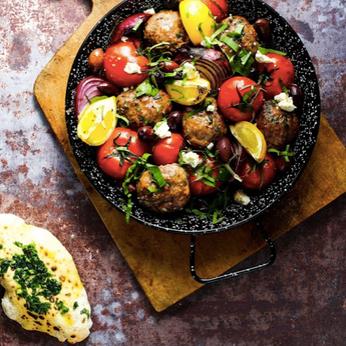 Meatballs, wild garlic with heritage tomatoes