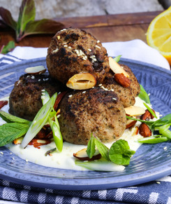 Meatballs stuffed with Feta, Prune and Mint