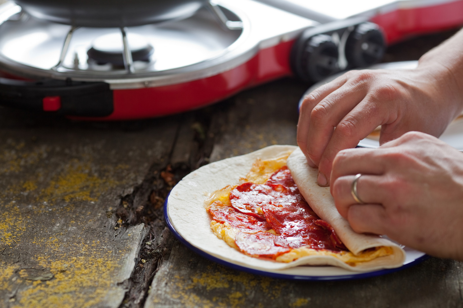 Recipes uk simply good food by peter sidwell chorizo and egg wrap forumfinder Images