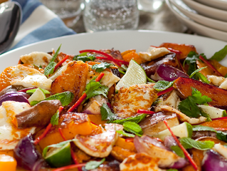 Hallumi Cheese with Roasted Sweet potato, Squash and Red Onion