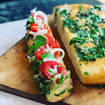 Wild Garlic Focaccia and Preserved Tomatoes