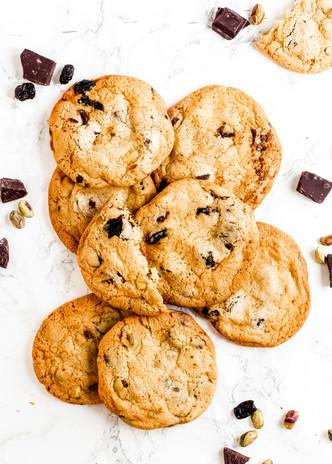 Dark chocolate, Cranberry and Pistachio Cookies