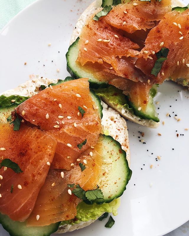 Smoked salmon on a bagel with cream cheese and cucumber