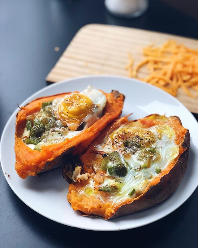 simple sweet potato breakfast recipe stuffed with eggs and cheese