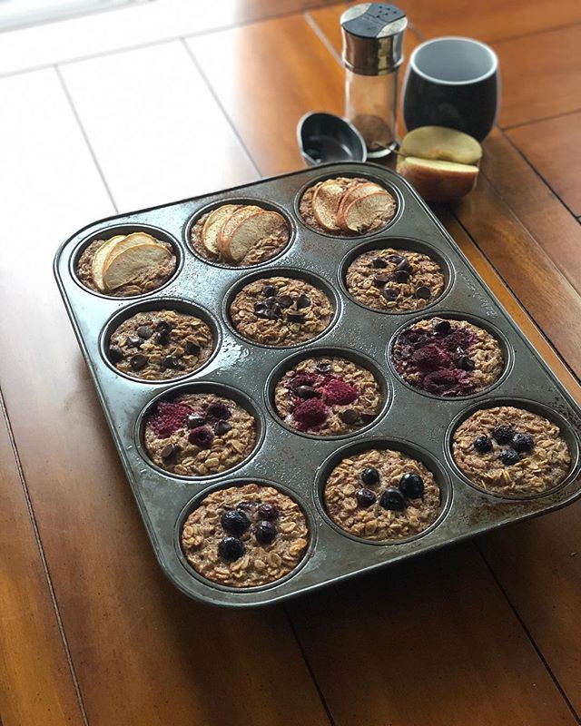 12 freshly-baked muffins in a muffin tin. Monkey muffins from compete nutrition