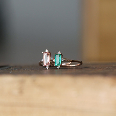 Stale & Co | Emerald & Pink Tourmaline Ring Set