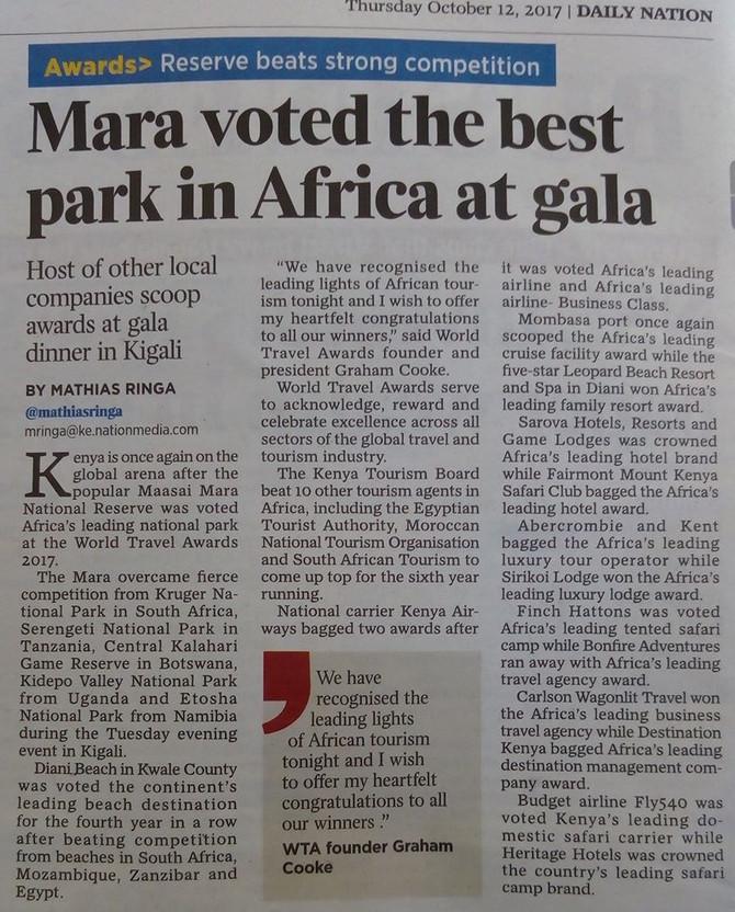 MAASAI MARA NAMED BEST PARK IN AFRICA