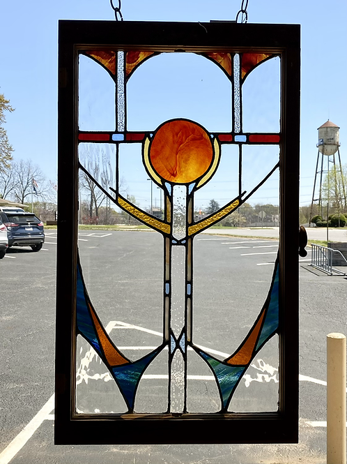 Stained Glass Panel Reclaimed Wood Frame