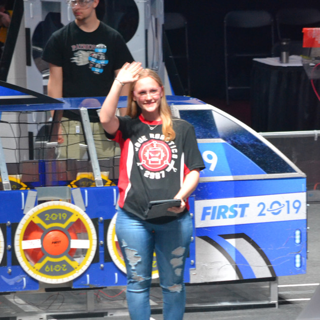 Cami Representing Rogue Robotics for Final Alliance Picking