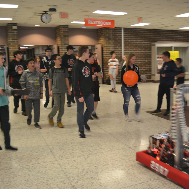 Strolling the Halls with Oll-E and a Crowd