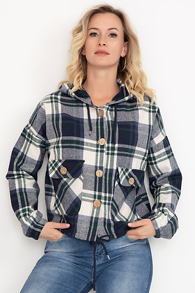 Plaid Hooded Short Shirt