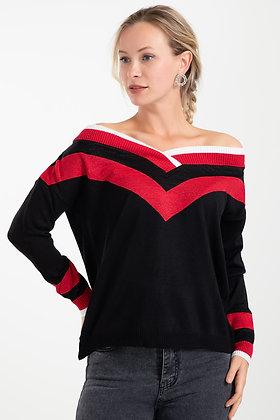 Silvery V Neck Knitwear Sweater