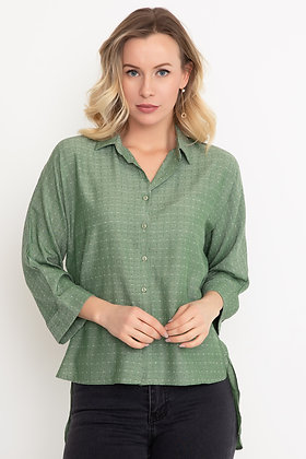 Patterned Capri Sleeve Shirt