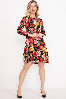 Floral Patterned Dress with Sleeves