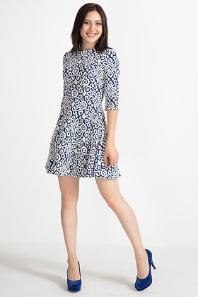 Patterned Capri Sleeve Short Dress