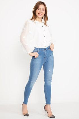 Laser Cut Blue Jeans