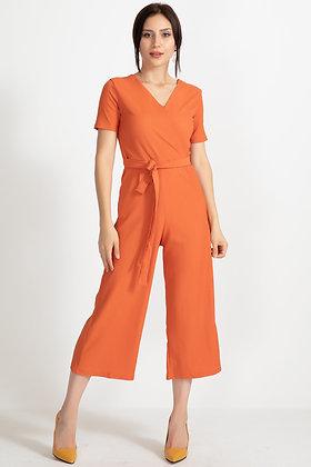 Waist Lace Short Sleeve Jumpsuit