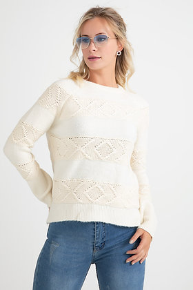 Patterned White Knitwear Sweater
