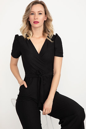 Pleated Sleeve Overalls Jumpsuit
