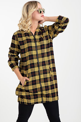 Hooded Plaid Trench