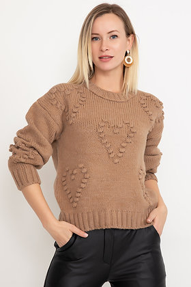 Heart Patterned Knitwear Sweater