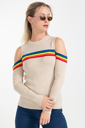 Shoulder Detail Striped Sweater