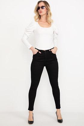 Narrow Hem Black Jeans Trousers