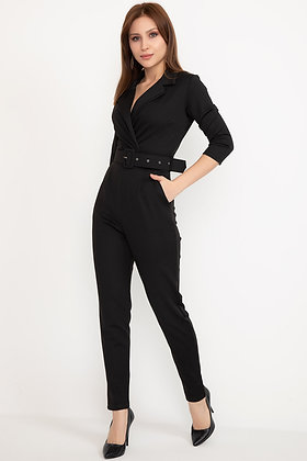 Belted Jumpsuit withShirt Collar