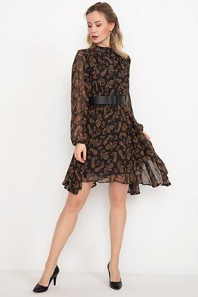 Buttoned Belt Chiffon Dress