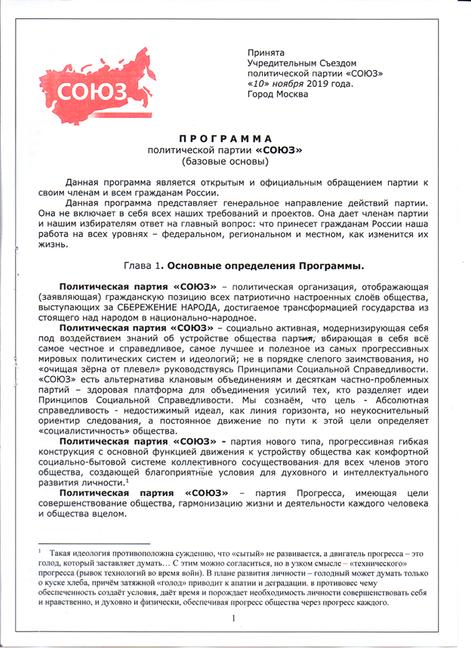 Программа  политической  партии  «Союз»