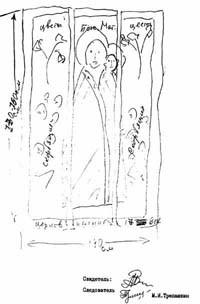 Один из свидетелей по делу Скотаренко—Ловецкого, не зная названия интересовавшей следователей иконы, нарисовал её как мог.