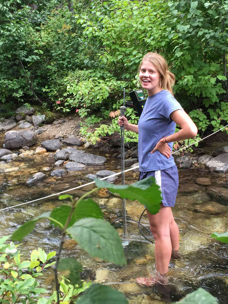 Josie Greenwood measuring flow