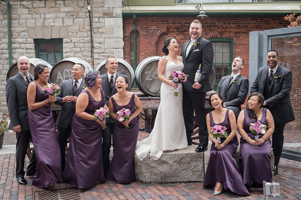 Bridal Party at Newlyweds Wedding Photo at Distillery District Toronto