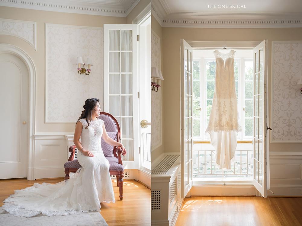 Bride and wedding dress at Heintzman House, Markham