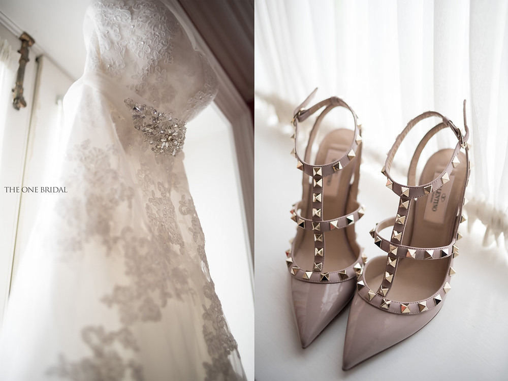 the one bridal wedding dress, valentino shoes