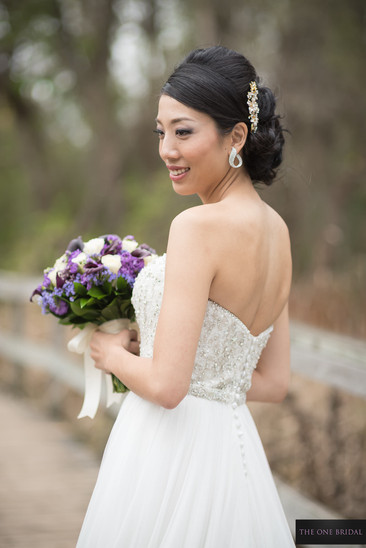 Bride and bouquet at Toogood Pond  THE ONE BRIDAL