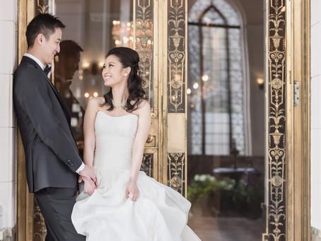 Organza Ball Gown Wedding Dress and Pre-wedding Photography at Casa Loma