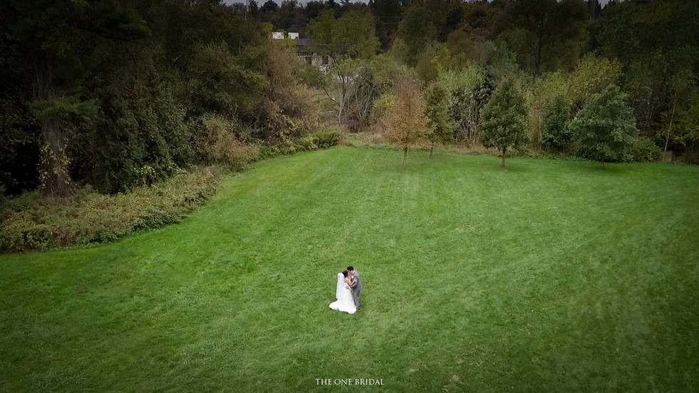 Wedding Drone Photo with the Bride and Groom