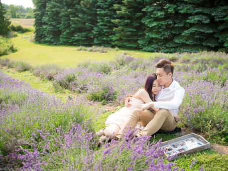 Engagement Photo and Love Story Video at Lavender Farm in Hamilton