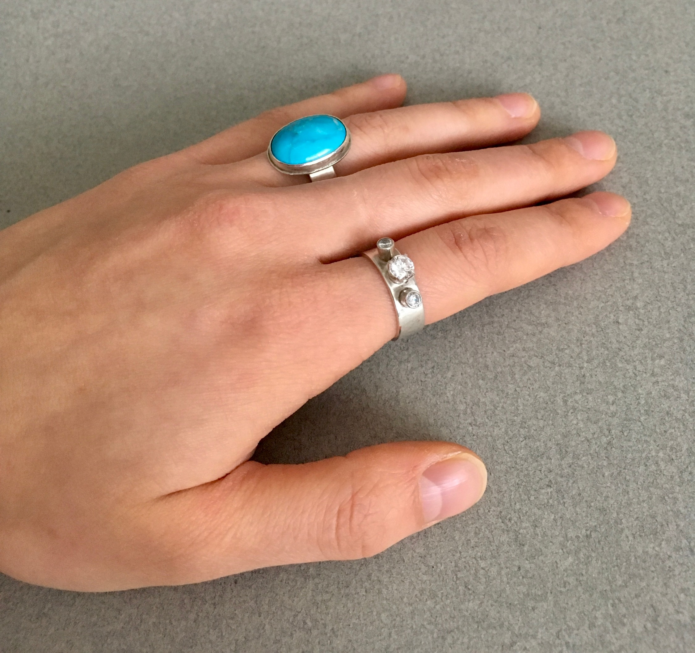CZ and Turquoise Rings