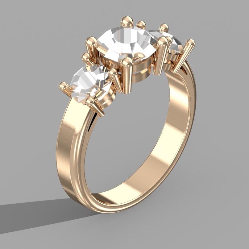 3-Stone Engagement Ring Render