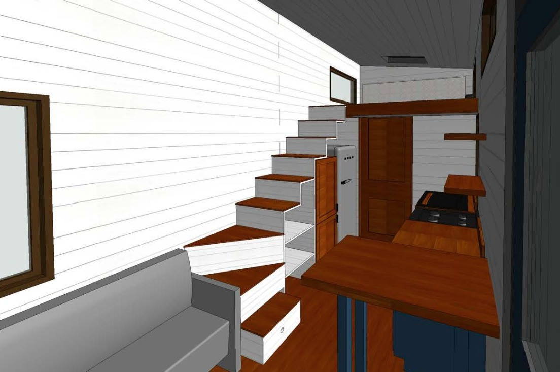 Rendering View of Stairs + Loft