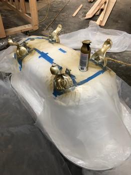 Spray Painting Acrylic Feet on Clawfoot Tub