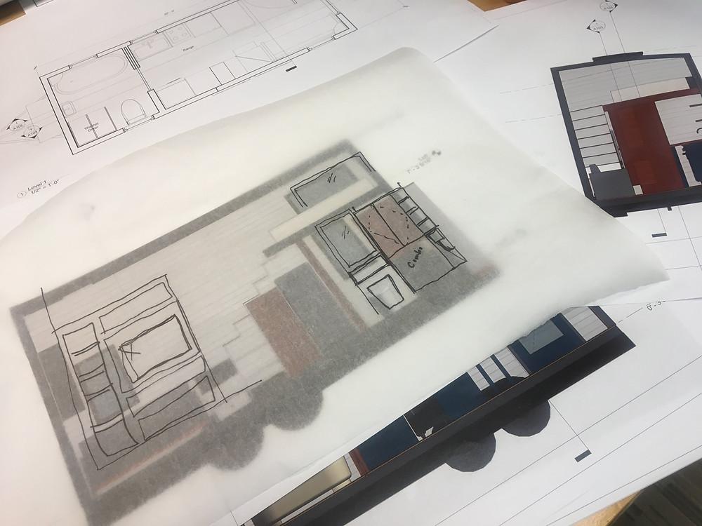 floor plan trace paper sketch