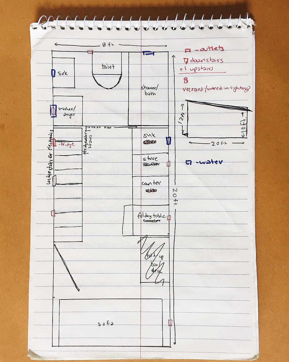 tiny house hand sketch floorplan